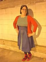 I wore this dress to pick up my husband at the airport after being away for 78 days.  I felt super cute in a sexy/cute way in this adorable vintage dress.  The fabric is nice and sturdy and the dress is comfortable.  In fact, I had to kill 3 hours of time due to flight delays and it stayed looking crisp and neat throughout.  Really a fun dress!