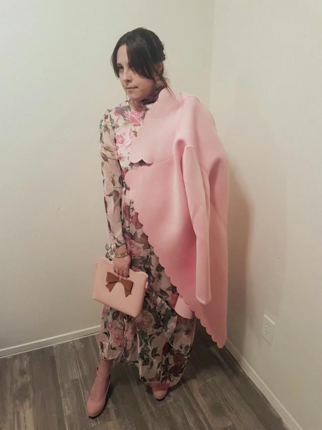 Rosa M Vintage gasa de manga larga de impresión floral de longitud ...