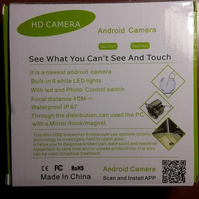 3 5m Mini Android Endoscope with Waterproof IP67 and
