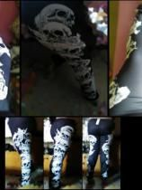 Halloween Plus Size Skulls Monochrome Leggings